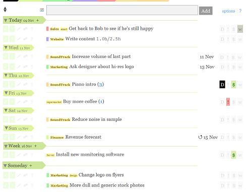 Alternative 2 - Date separators followed by tasks