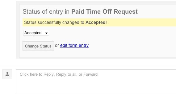 Manage your Form Workflows from your Inbox – Request for Time off Form